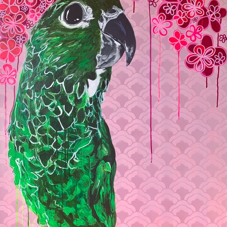 (CreativeWork) Philly in the Flowers by Rebecca Warr. Acrylic Paint. Shop online at Bluethumb.