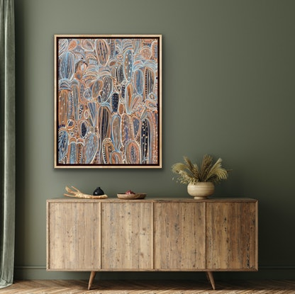 (CreativeWork) Bedouin Nights -  Framed in Oak by Carley Bourne. Acrylic Paint. Shop online at Bluethumb.