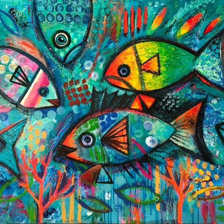 (CreativeWork) Fish Abstract  by Karin Zeller. Acrylic Paint. Shop online at Bluethumb.