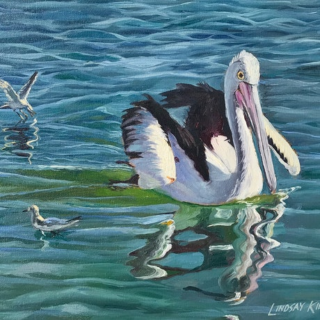 (CreativeWork) Pelican and seagulls by Lindsay Kilminster. Oil Paint. Shop online at Bluethumb.