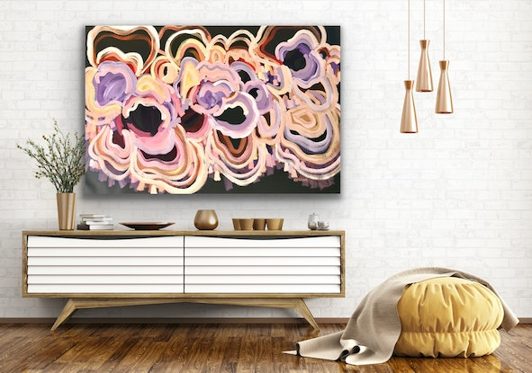 (CreativeWork) Celebration Of Life - Large Abstract Flowers 142x96cm by Jen Shewring. Acrylic Paint. Shop online at Bluethumb.