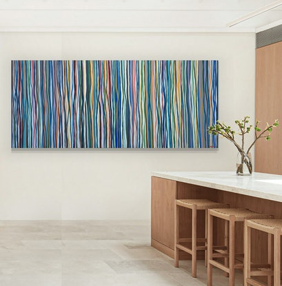 (CreativeWork) Downtown Funk - 198 x 84cm acrylic on canvas by George Hall. Acrylic Paint. Shop online at Bluethumb.