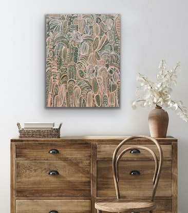 (CreativeWork) Moroccan Soirée - Framed in Oak   by Carley Bourne. Acrylic Paint. Shop online at Bluethumb.