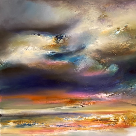 Colourful abstract of landscape with textured brush strokes.