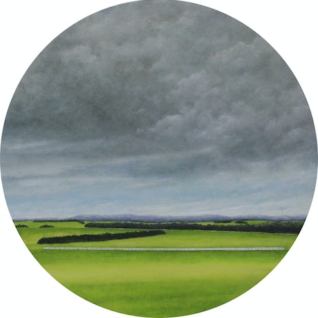 Storm clouds gathering over green fields which are  divided by rows of trees in the mid ground.