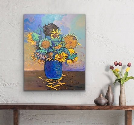 (CreativeWork) Sunflowers In Vase 2 by Sarika Sriwong-rach. Acrylic Paint. Shop online at Bluethumb.