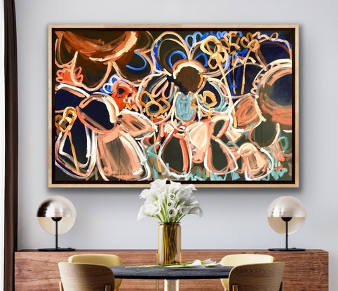 (CreativeWork) Late Night Coffee  - Framed Large Abstract Botanical 145x92cm by Jen Shewring. Acrylic Paint. Shop online at Bluethumb.