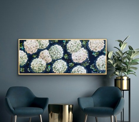 (CreativeWork) White night hydrangea 157x66 framed. Large textured abstract by Sophie Lawrence. Acrylic Paint. Shop online at Bluethumb.