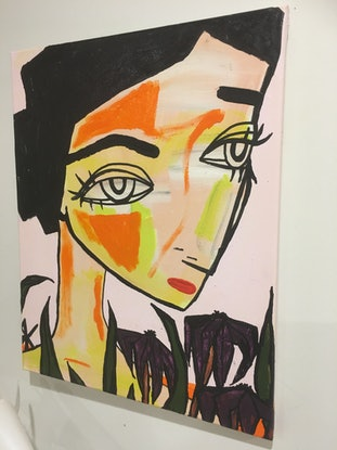 (CreativeWork) The Prodigy Peach Series (One of Eight).  by Kate Rogers. Acrylic Paint. Shop online at Bluethumb.