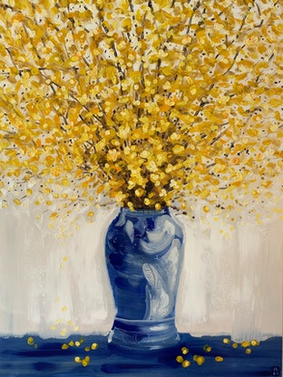 (CreativeWork) Yellow Blossoms in Blue Chinoiserie (oil on canvas) by JULIE LYNCH. Oil Paint. Shop online at Bluethumb.