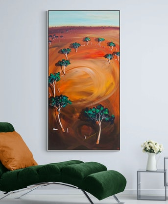 (CreativeWork) Late Afternoon Breeze 183 X 91CM Extra Large  Abstract Landscape by Tania Chanter. Acrylic Paint. Shop online at Bluethumb.