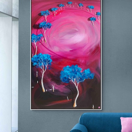 (CreativeWork) Late Afternoon Blush 183 X 91CM Extra Large  Abstract Landscape by Tania Chanter. Acrylic Paint. Shop online at Bluethumb.