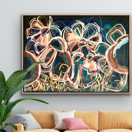 (CreativeWork) You Shine Bright - Extra Large Framed Flower Abstract 160 x 115cm by Jen Shewring. Acrylic Paint. Shop online at Bluethumb.