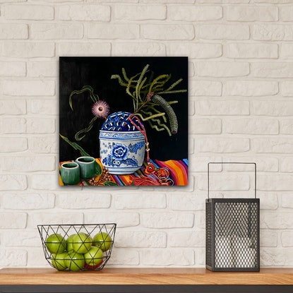 (CreativeWork) We're All Travellers by Belinda Jeanes. Acrylic Paint. Shop online at Bluethumb.