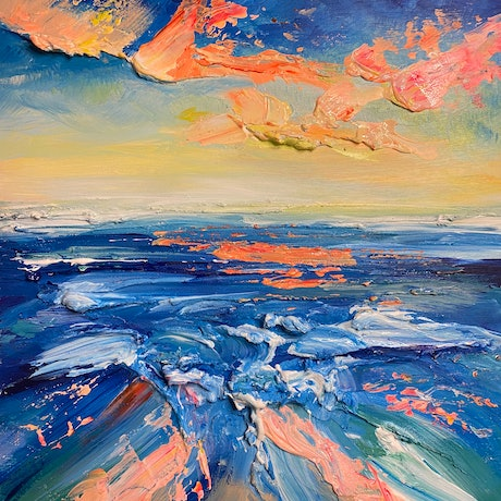 (CreativeWork) Another Life 1. Impasto Abstract, impressionist beach Seascape  by Marie Antuanelle. Acrylic. Shop online at Bluethumb.