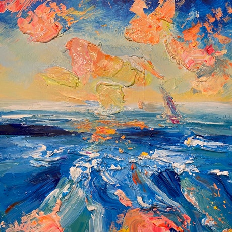 (CreativeWork) Another Life 2. TEXTURED Abstract, impressionist coastal Ocean Sunset by Marie Antuanelle. Acrylic. Shop online at Bluethumb.
