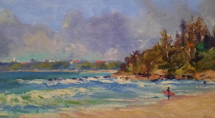 (CreativeWork) The Surfer. Alexandra  Headland. Qld by Barry Back. Oil Paint. Shop online at Bluethumb.