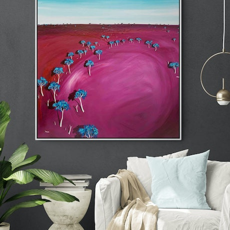 (CreativeWork) Pink Afternoon Haze 91 X 91CM Large  Abstract Landscape by Tania Chanter. Acrylic Paint. Shop online at Bluethumb.