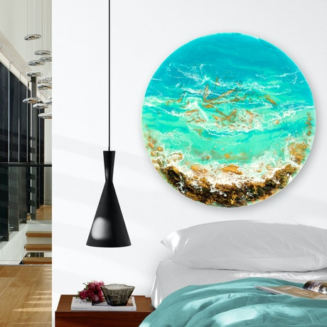 (CreativeWork) Ocean Resin Art - Adrift by Michelle Tracey. Resin. Shop online at Bluethumb.