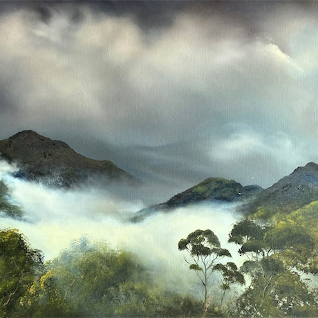 (CreativeWork) Bilambil Mist Remembered by Elaine Green. Oil Paint. Shop online at Bluethumb.