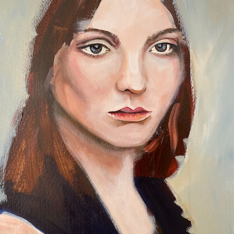 (CreativeWork) Girl in a Blue top by Alison Pilcher. Acrylic Paint. Shop online at Bluethumb.