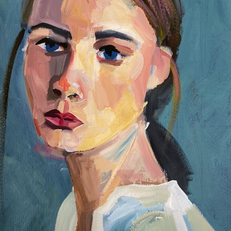 (CreativeWork) Girl in a Pale Green Top by Alison Pilcher. Acrylic Paint. Shop online at Bluethumb.