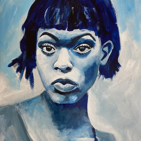 (CreativeWork) Girl in Blue by Alison Pilcher. Acrylic Paint. Shop online at Bluethumb.