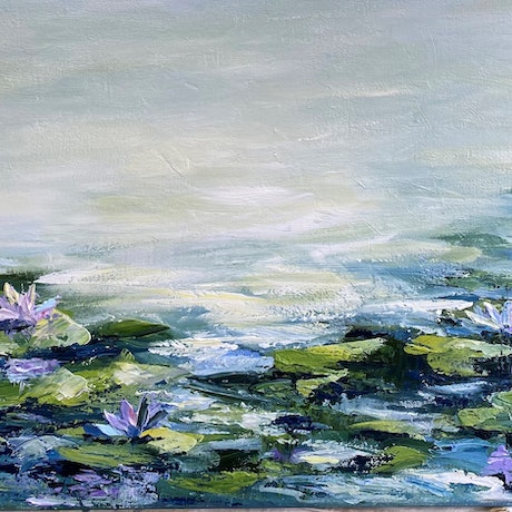 (CreativeWork) Waterlilies #8 by Ivana Pinaffo. Acrylic Paint. Shop online at Bluethumb.