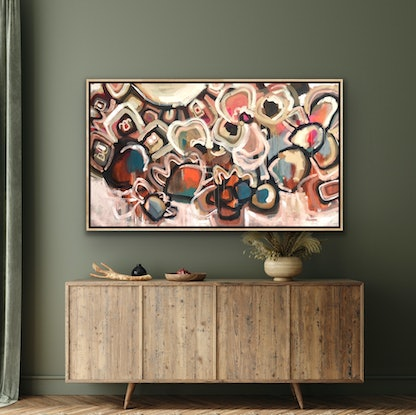 (CreativeWork) Moroccan Nights - Large Framed Canvas Print 155 x 79cm - Abstract Colourful Ed. 1 of 100 by Jen Shewring. Print. Shop online at Bluethumb.