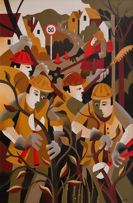 (CreativeWork) COUNCIL CLEAN UP DAY by Thomas Andersen. Acrylic Paint. Shop online at Bluethumb.