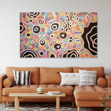 (CreativeWork) Family Looking For Rockholes by Kelilah Taylor-Ware. Acrylic Paint. Shop online at Bluethumb.