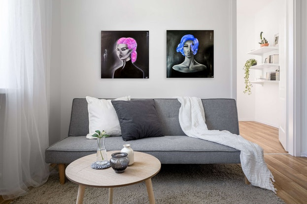 (CreativeWork) Madame X in Violet by Mikaela Nichols. Oil Paint. Shop online at Bluethumb.