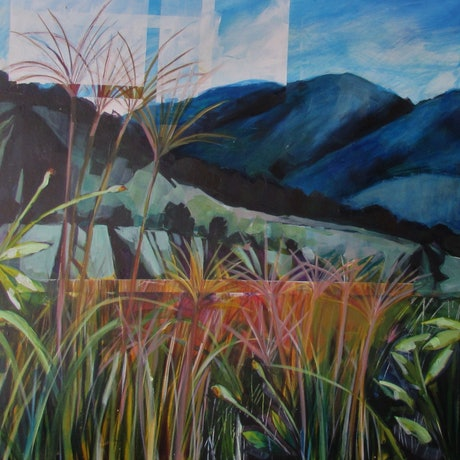 (CreativeWork) Long Grass and Cobbler's Pegs by Helen Evans. Acrylic Paint. Shop online at Bluethumb.