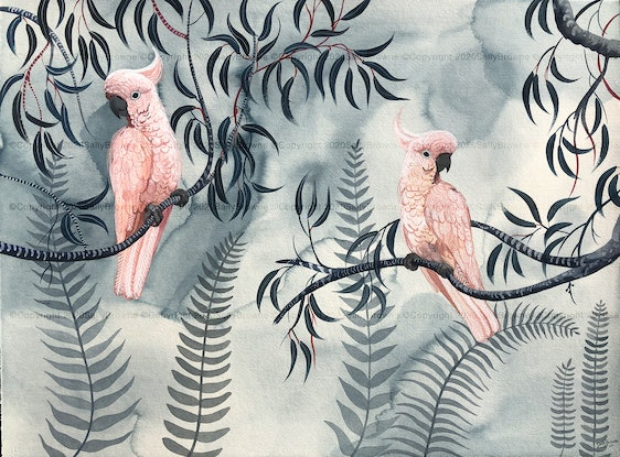 (CreativeWork) Pink Cockatoos - The Prettiest Vandals Ed. 8 of 50 by Sally Browne. Print. Shop online at Bluethumb.