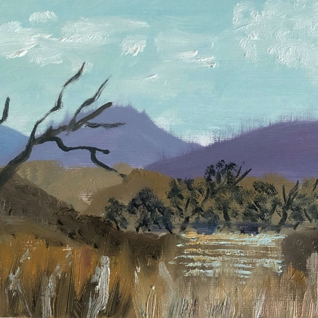 (CreativeWork) River View by Amanda McLeod. Oil Paint. Shop online at Bluethumb.