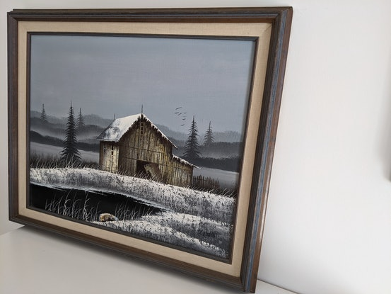 (CreativeWork) Old Winter Barn by Dawn Watts. Acrylic Paint. Shop online at Bluethumb.