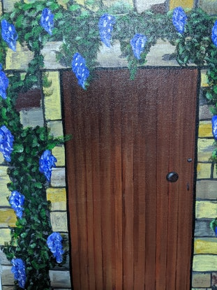 (CreativeWork) Wisteria framed doorway by DC Watts. Acrylic Paint. Shop online at Bluethumb.