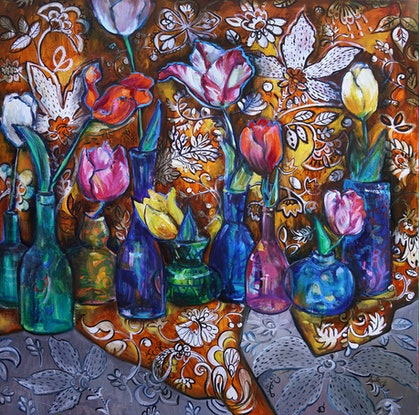 (CreativeWork) Fragile Flowers by Katerina Apale. Oil Paint. Shop online at Bluethumb.
