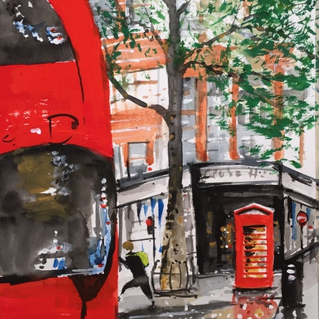 (CreativeWork) On The Buses by Bernd Rieve. Mixed Media. Shop online at Bluethumb.