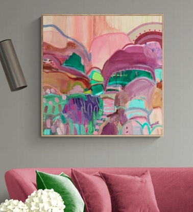 (CreativeWork) LIME HIDEAWAY  - ABSTRACT LANDSCAPE by Belinda Stone. Acrylic Paint. Shop online at Bluethumb.