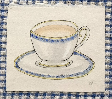 A cat mug filled with tea on a saucer with milk arrowroot biscuits, an espresso cup, a posh teacup sitting on a saucer with blue edging, a latte in a clear glass sitting on a white plate with a pink and teal macaron.