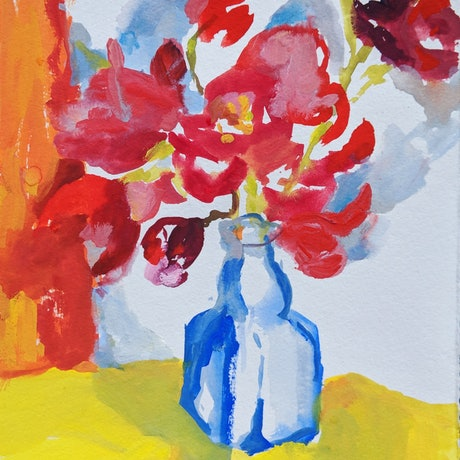 (CreativeWork) Orchids in blue vase by Amanda Cutlack. Watercolour Paint. Shop online at Bluethumb.