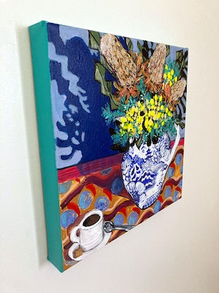 (CreativeWork) Banksias and Blue Pagoda    by Emilie Maguin. Mixed Media. Shop online at Bluethumb.