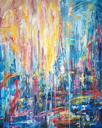 (CreativeWork) All At Once by Alina Zorkina. Acrylic Paint. Shop online at Bluethumb.