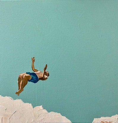 (CreativeWork) Just Jump Mini 7 by Pip Phelps. Acrylic Paint. Shop online at Bluethumb.