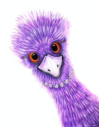 (CreativeWork) Daisy - Quirky Emu by Linda Callaghan. Acrylic Paint. Shop online at Bluethumb.