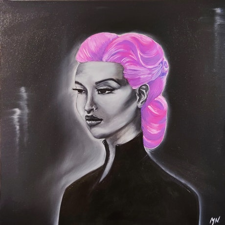 (CreativeWork) A Private Affair in Magenta by Mikaela Nichols. Oil Paint. Shop online at Bluethumb.