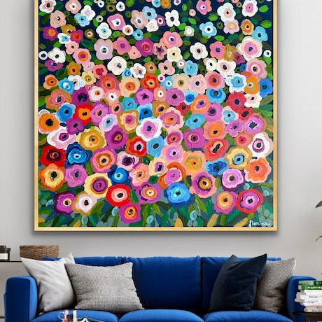 (CreativeWork) Midnight garden 106x106 framed large textured abstract by Sophie Lawrence. Acrylic Paint. Shop online at Bluethumb.