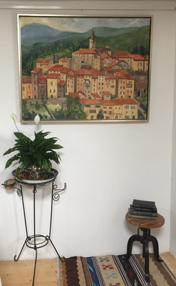 (CreativeWork) Apricale  Italy by Christine Richman. Oil Paint. Shop online at Bluethumb.