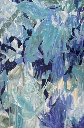 blue, turquoise and white expressive floral